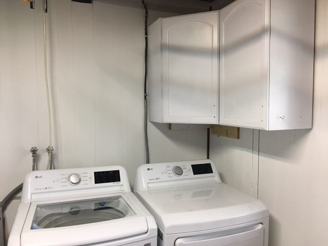 Laundry cabinets installed as part of our laundry room remodel