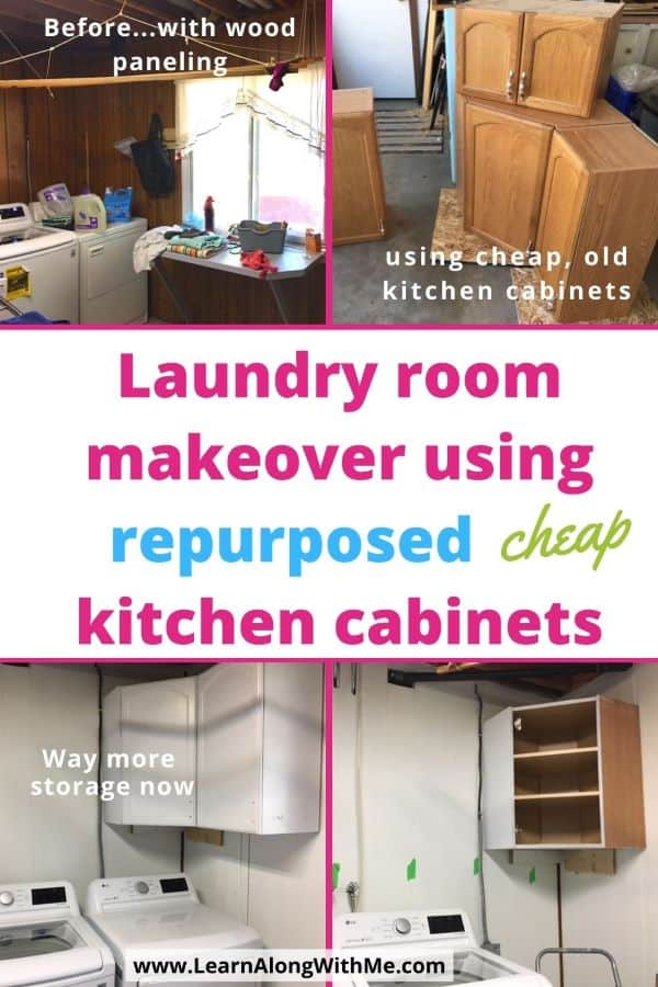 Laundry room makeover by painting wood paneling and using old kitchen cabinets to add extra laundry room staoge.