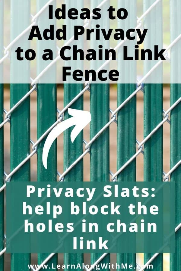 Chain link fence privacy ideas - use privacy slats to cover the holes in chain link fences.