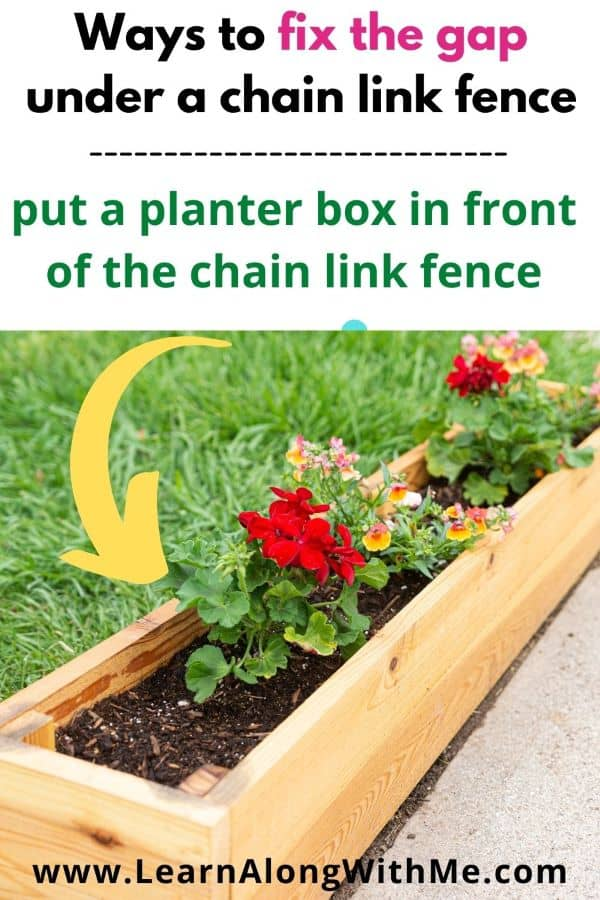 put a planter box in front of a chain link fence to fix the gap under a chain link fence.