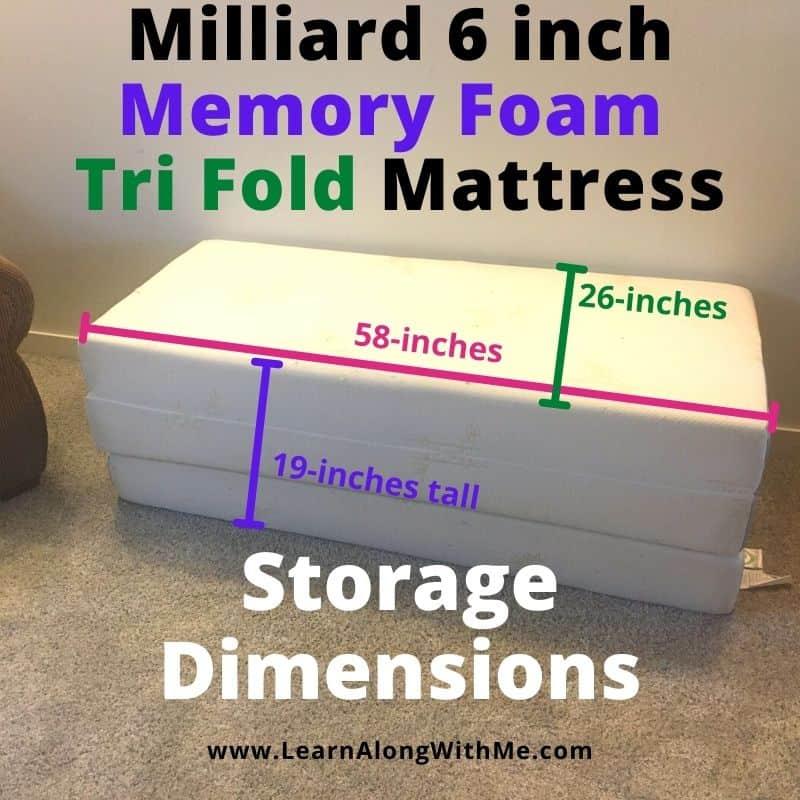 Milliard 6 inch memory foam tri fold mattress review and storage dimensions