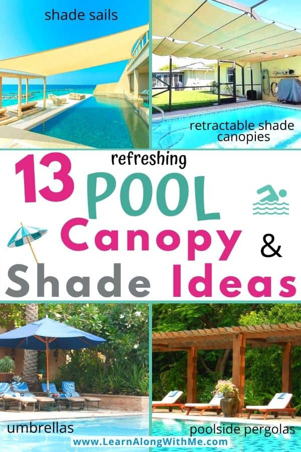 13 Pool Canopy and pool shade ideas (includes some above ground pool canopy options)