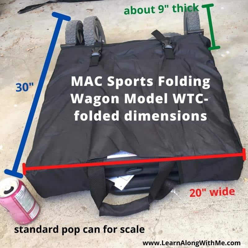 MAC Sports Folding Wagon Model WTC folded dimensions.