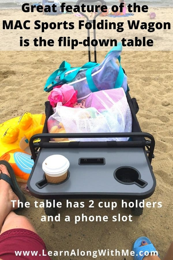 MAC Wagon with Table - the foldable table has 2 cup holders and a slot for your phone.
