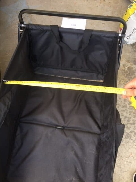 MAC Sports folding wagon model WTC inner dimensions of the cargo area is about 17.5inches wide