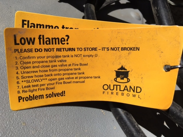 Outland Firebowl - what to do if you have a low flame
