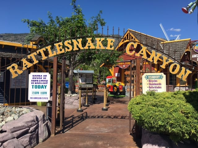 The entrance to Rattlesnake Canyon Amusement Park in Osoyoos BC.