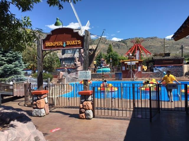 Bumper Boats at Rattlesnake Canyon amusement park in Osoyoos BC