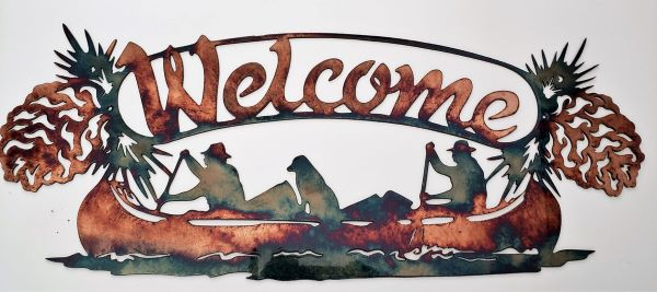 Canoe wall decor - a metal welcome sign showing a couple people paddling in their canoe and their gun dog in the middle