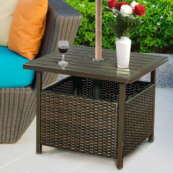Umbrella mounting side table from Walmart