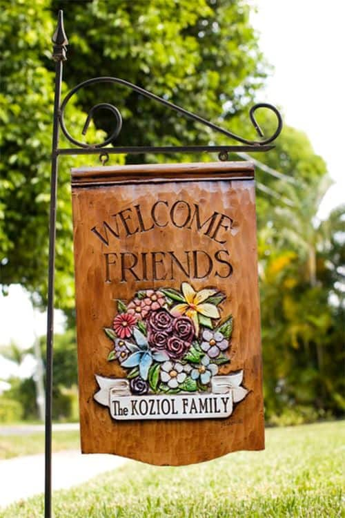 Welcome Friends Personalized Yard Sign on Stake by AlPisano on Etsy