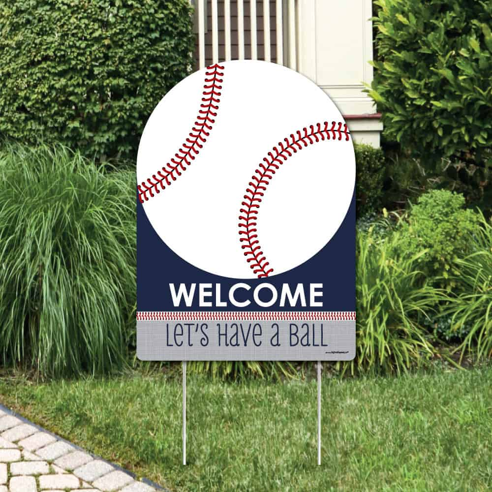 Baseball welcome yard signs walmart - let's have a ball