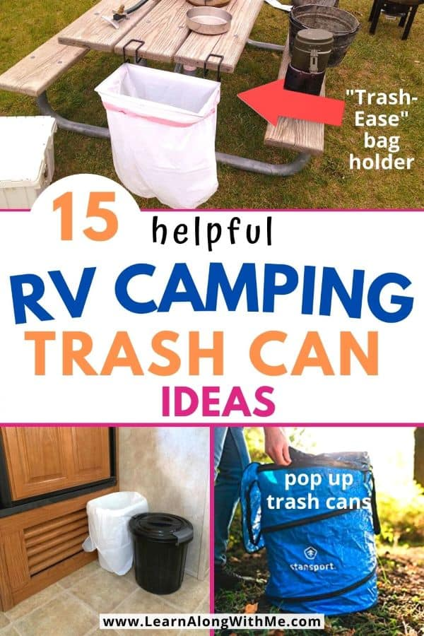 15 helpful camping trash can ideas including collapsible trash can and RV trahs can ideas.