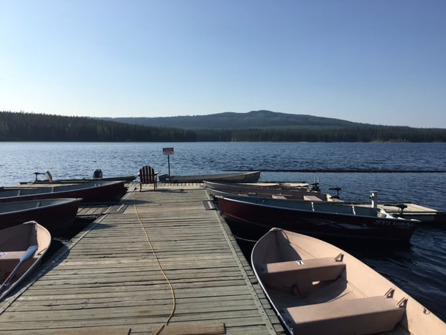 Dock at Postill Lake Lodge and these are the fishing boats you can rent from the lodge