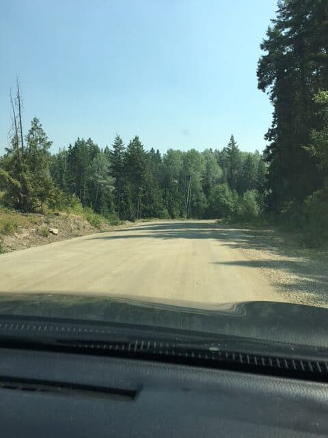 Gravel road to Postill Lake. There is 15 km of gravel road to travel to get to Postill Lake.