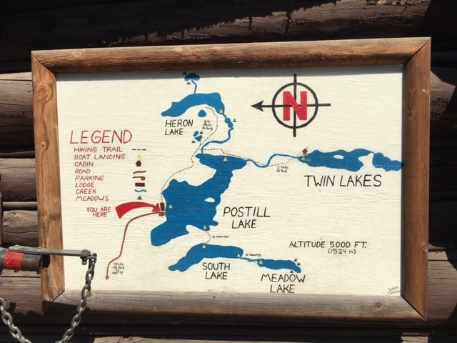 Hand painted map of Postill Lake near the entrance to the Postill Lake Lodge
