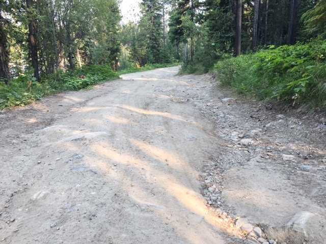 rough road into the Postill Lake recreation site (July 2021)
