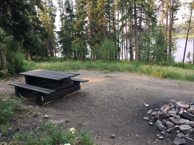 One of the campsites at the Postill Lake Recreation Site