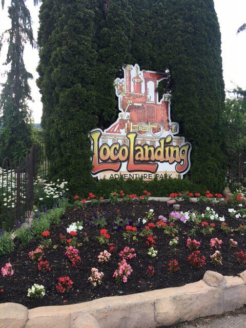 Loco Landing Adventure Park sign in Penticton BC