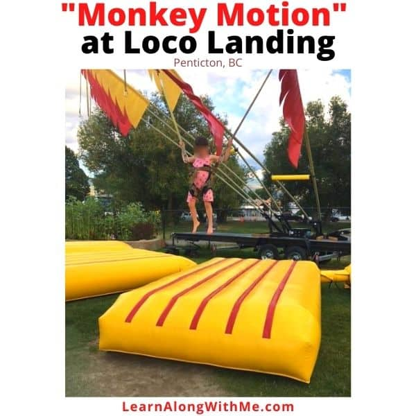 Monkey Motion fun jumping activity at Loco Landing in Penticton