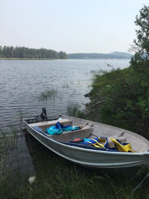 The aluminum fishing boat we rented on Postill Lake