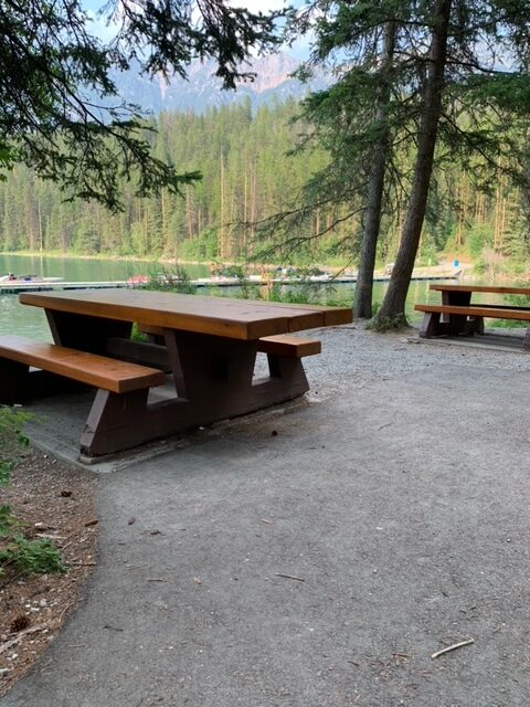 Premier Lake BC has a wheelchair friendly picnic table at the day use area at the south end of the lake.