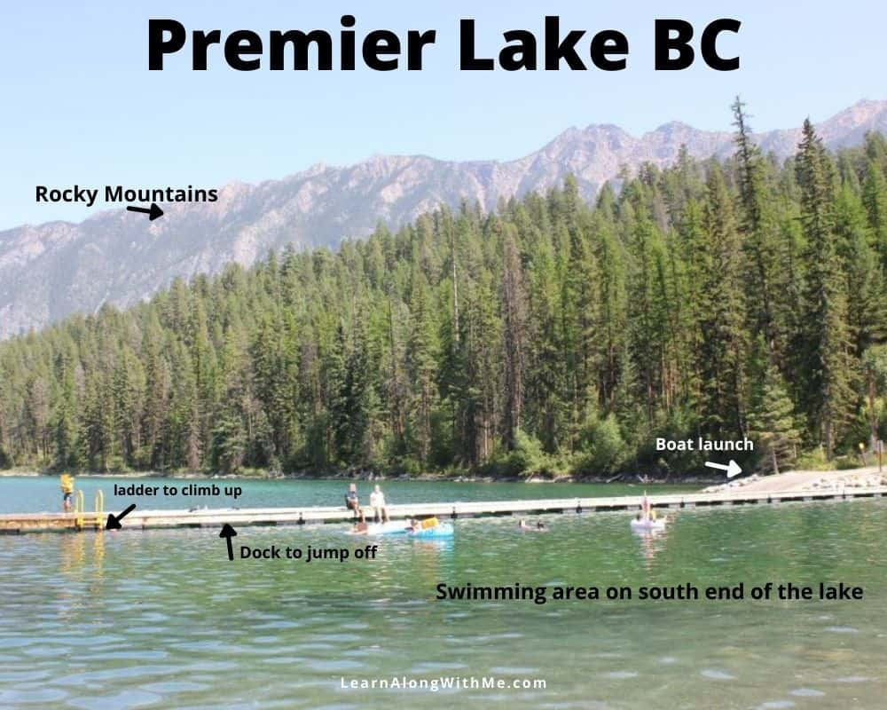 Premier Lake BC - swimming area on the south end of the lake in the provincial park