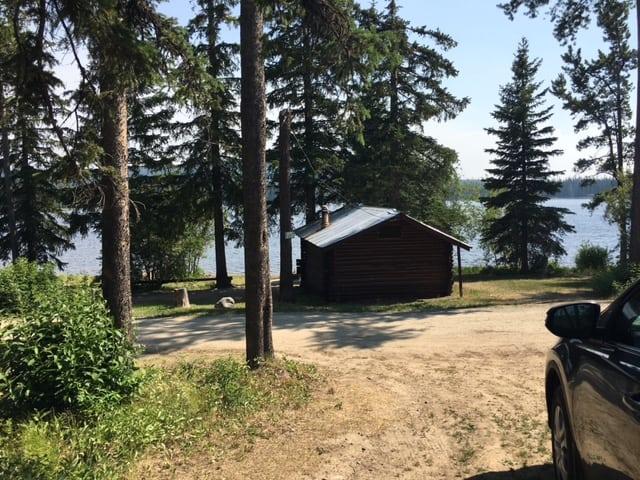 View of Postill Lake from Cabin 11 at Postill Lake Lodge