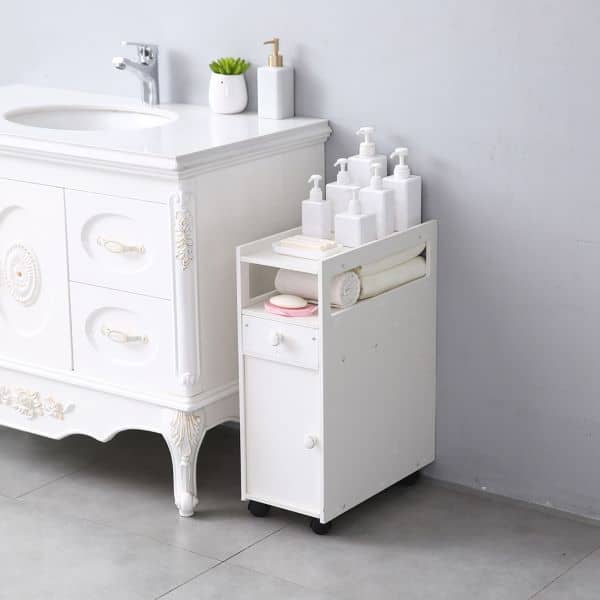 Bathroom cart with a cabinet and a sliding drawer