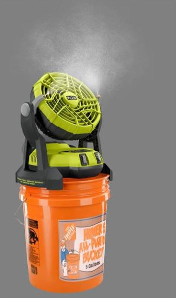 Ryobi bucket top misting fan for camping and outdoors