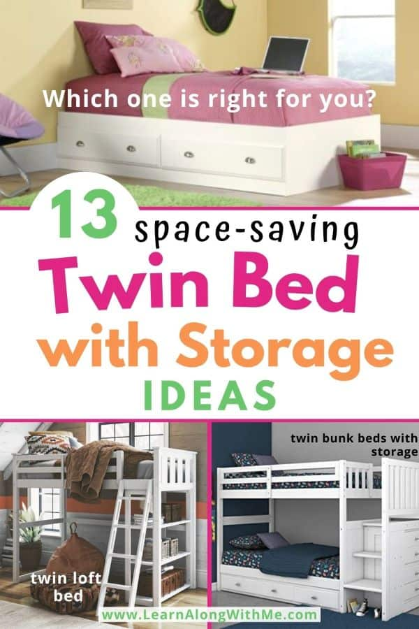 Twin Bed with Storage Ideas - a twin bed with storage is a good space-saving way to add storage to a small bedroom.