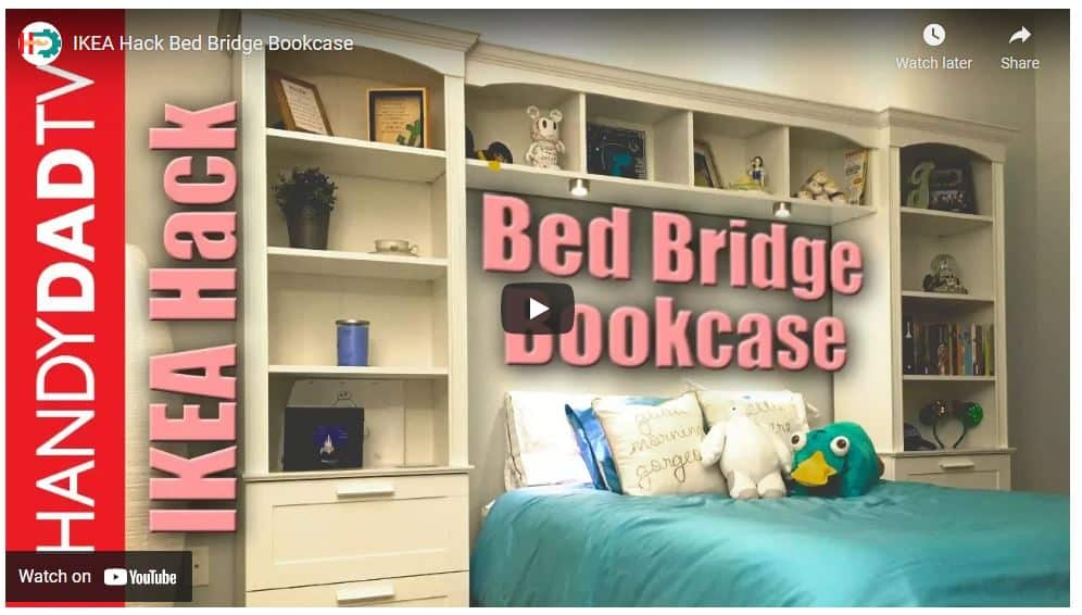 IKEA hack using ikea furniture to make a custom made bed brdige over bed shelving unit by HandyDadTV