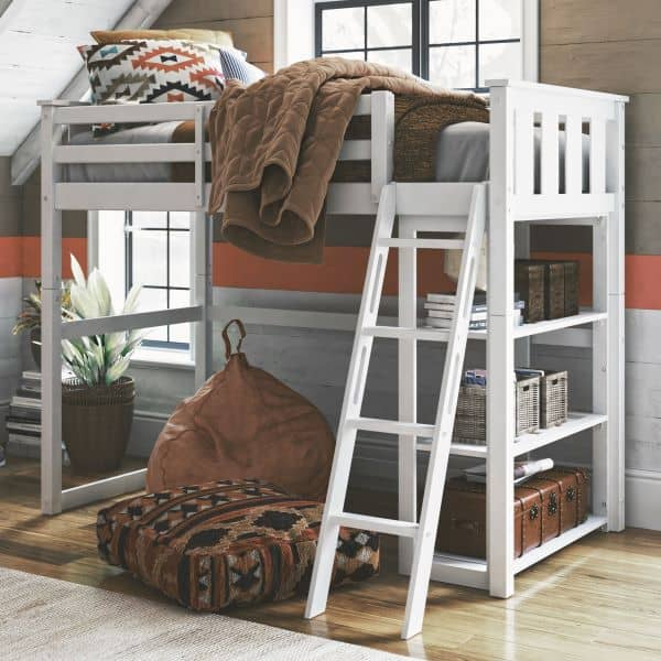 Loft Twin Bed with Storage bookcase underneath