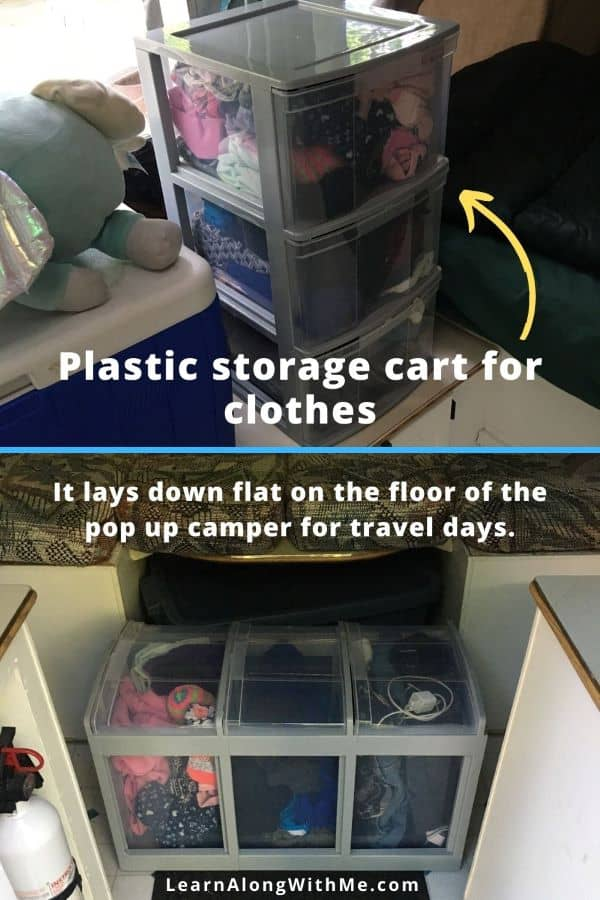 using a plastic storage cart with drawers to store clothes in a ;pop up camper