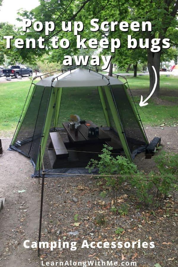 pop up screen tent to keep bugs away from the picnic table