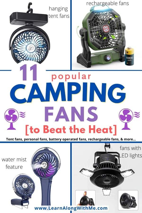 11 popular Camping Fan options including rechargeable fan options, battery operated fans for camping and even a solar power fan for camping.