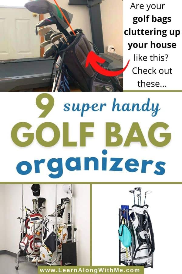 Golf Bag organizers to help store and protect your golf gear (includes golf bag storage racks and stands)