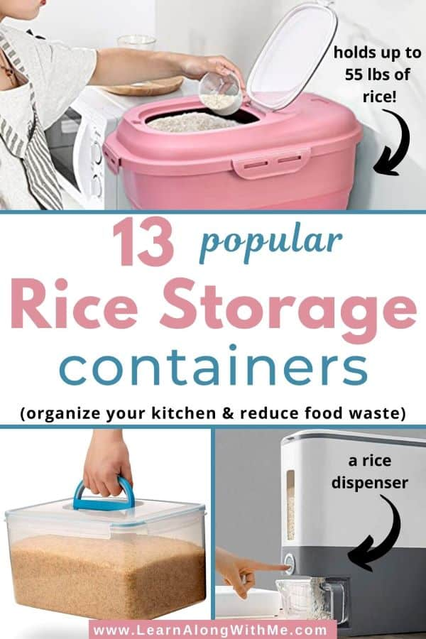 Rice Storage Containers - 13 popular options including rice dispensers, collapsible rice bin, and more.