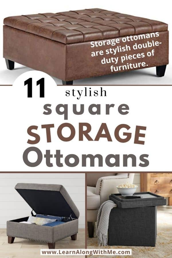 Square Storage Ottoman options - 11 stylish options to add storage to your home and you can use as a seat or as a footrest