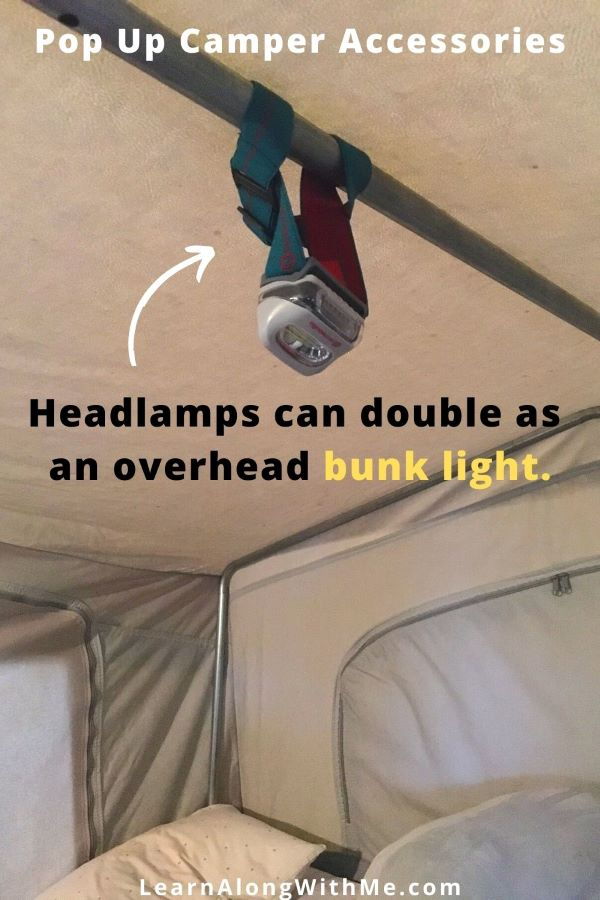 pop up camper accessories - LED headlamps can work well as overhead bunk lights