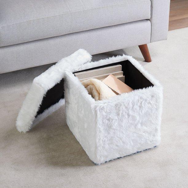 faux fur storage ottoman