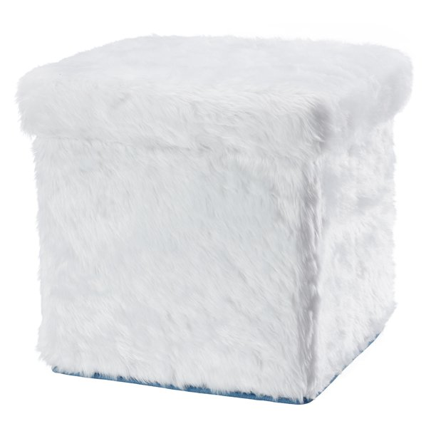 White storage ottoman with faux fur it is collapsible too