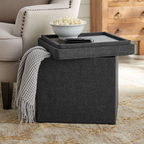 grey square storage ottoman with tray (linen covered) it is a popular ottoman available on Walmart.com