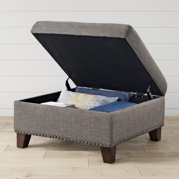 Grey square storage ottoman at walmart made by better homes and gardens