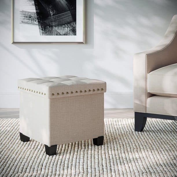 Beige storage ottoman with tray top and folding structure