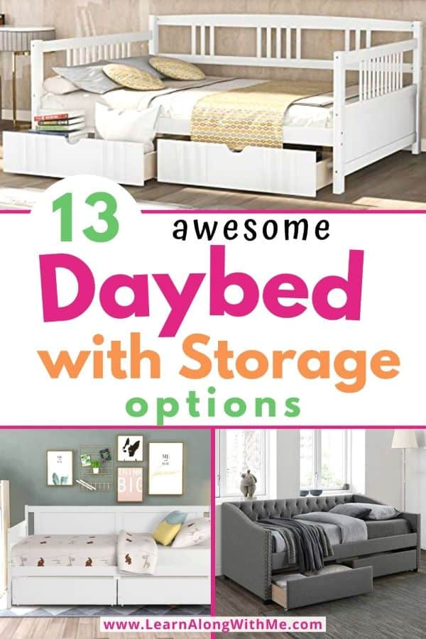 Daybed with Storage - 13 awesome options. Includes full size daybeds with storage and twin size daybeds with storage