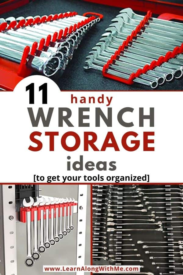 Wrench Storage Ideas - 11 handy options to store and organize your wrenches. Includes DIY wrench organizers, toolbox tray liners and more