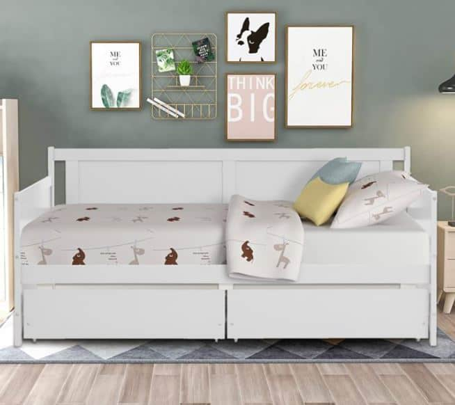 White daybed with storage drawers from SEGMART.