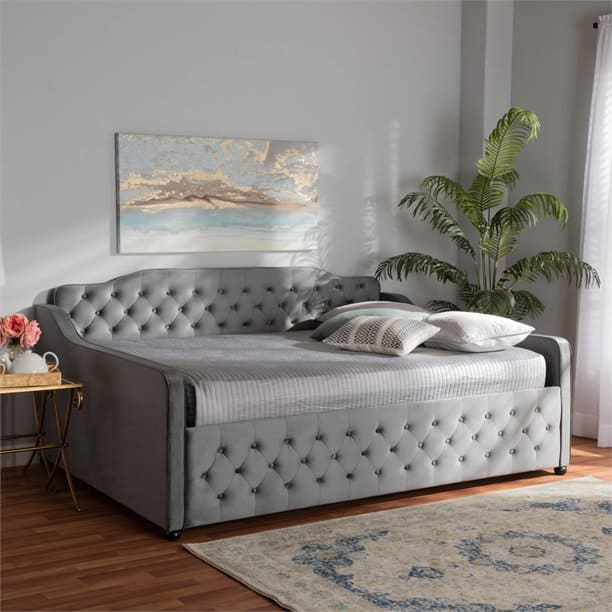Grey Queen Daybed. The model is Freda by Baxton Studio. Has tufted design.